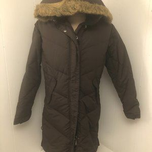Womens Brown Down Fillied Coat. Misty Mountain Med